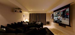 Artcoustic Home Cinema featuring 3 x DF75-55 LCR with drop down