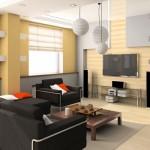חלל מגורים עם מערכת קולנוע ביתי