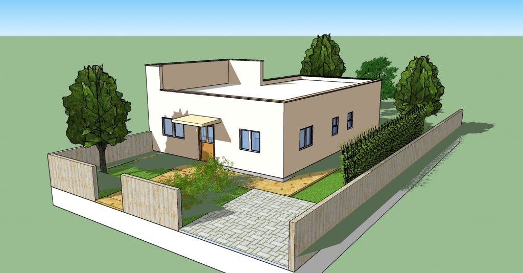 """הדמיית בית בגודל של 120 מ""""ר"""